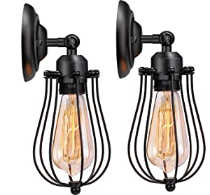 Wire Cage Wall Sconce Licperron Adjustable Industrial Wall Sconce 2 Pack Vintage Style Bedroom Garage Porch Mirror