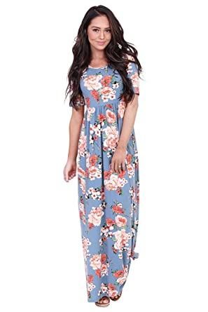 36b2819846e5 Miranda Modest Maxi Dress in Chambray w/Bright Coral Floral Print - XS