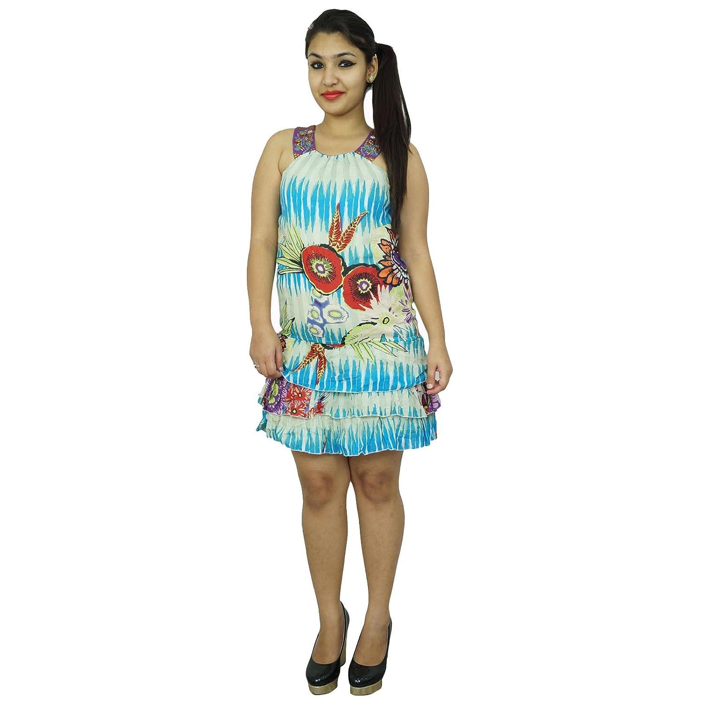 Reine Baumwollkleid abstrakter Druck Sommer-Abnutzung Tunika Frauen Sommerkleid