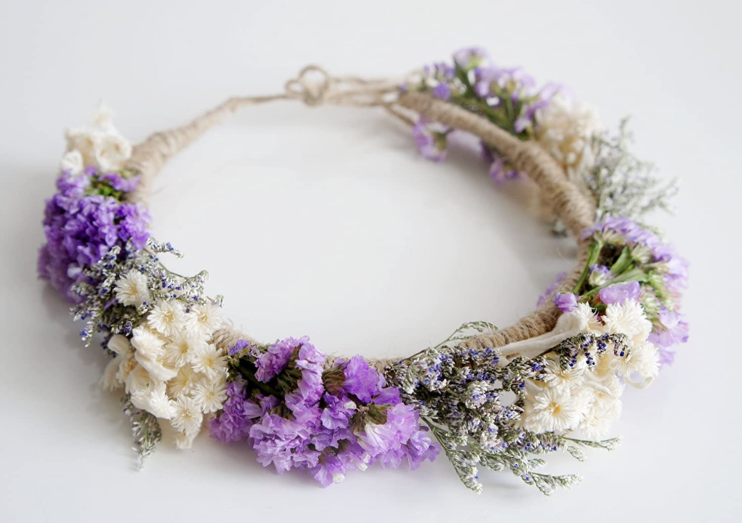Amazon Bride Natural Purple Statice Flower Headband For Wedding