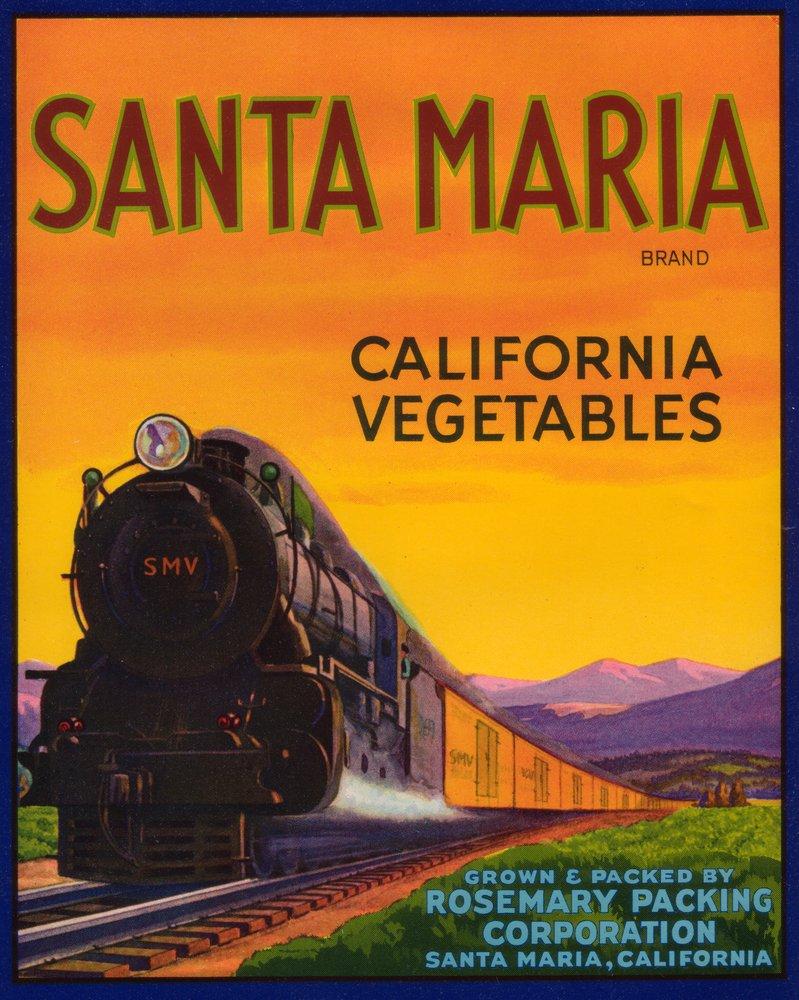 高級感 Santa Maria Santa TrainシーンVegetableラベル 24 x 36 Print Giclee 12 Print LANT-1615-24x36 B00QPYGPMW 12 x 18 Art Print 12 x 18 Art Print, 河芸町:d006b832 --- afisc.net