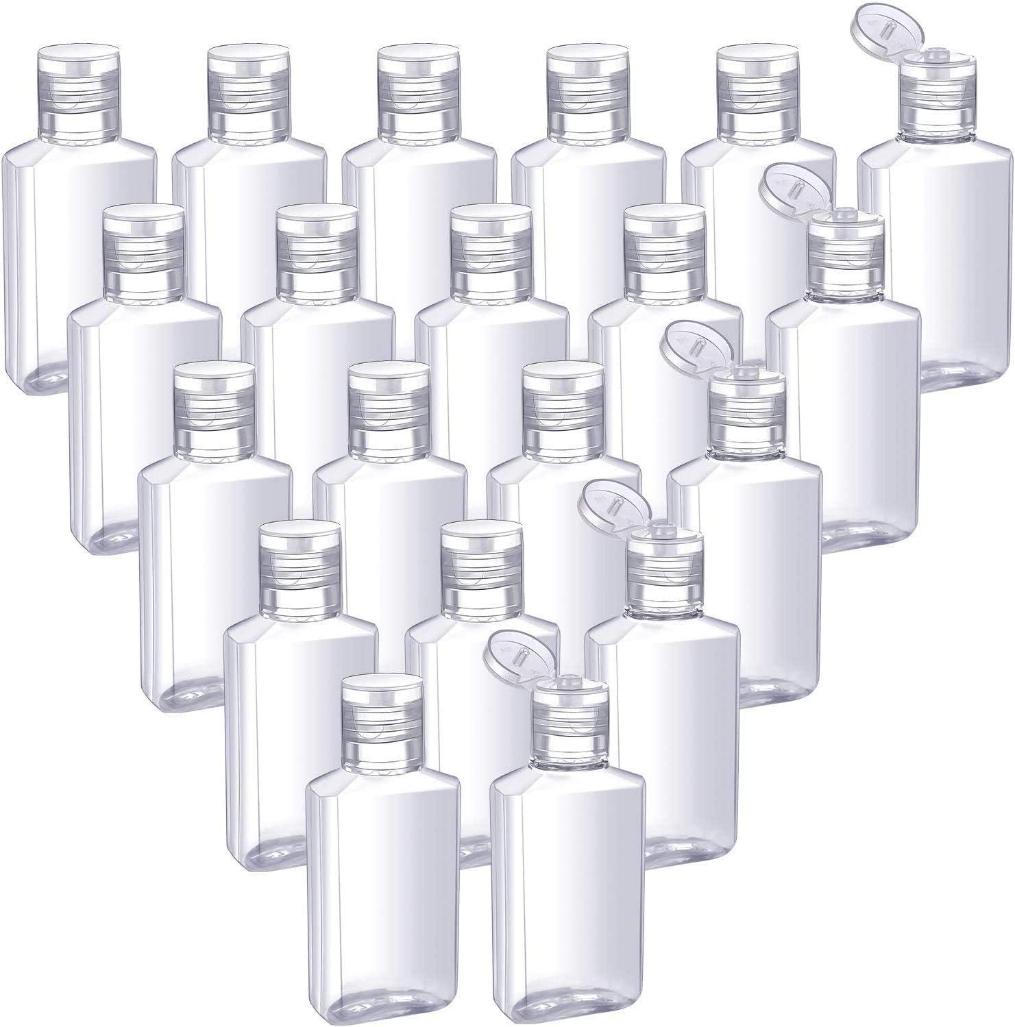 Linyu - Lote de 50 botellas de viaje transparentes, recargables y portátiles con tapa abatible para champú, acondicionador, loción, productos cosméticos