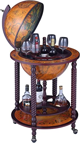 VIDAR Sepia Vertical Four-Legged Hemp Sixteenth-Century Italian Replica Style 17.7 Diameter Globe Bar Cart Cabinet on Wheels, 40 Wine Cabinet