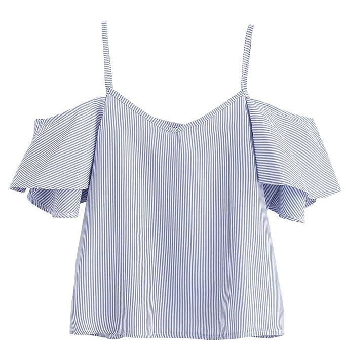 Amazon.com: Kangma verano para mujer Causal de rayas cuello ...