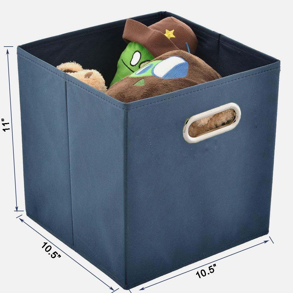 6 Packs Multiple-Color Foldable Cube Storage Bin SHACO Durable Double Metal Handle Cloth Storage Cubes