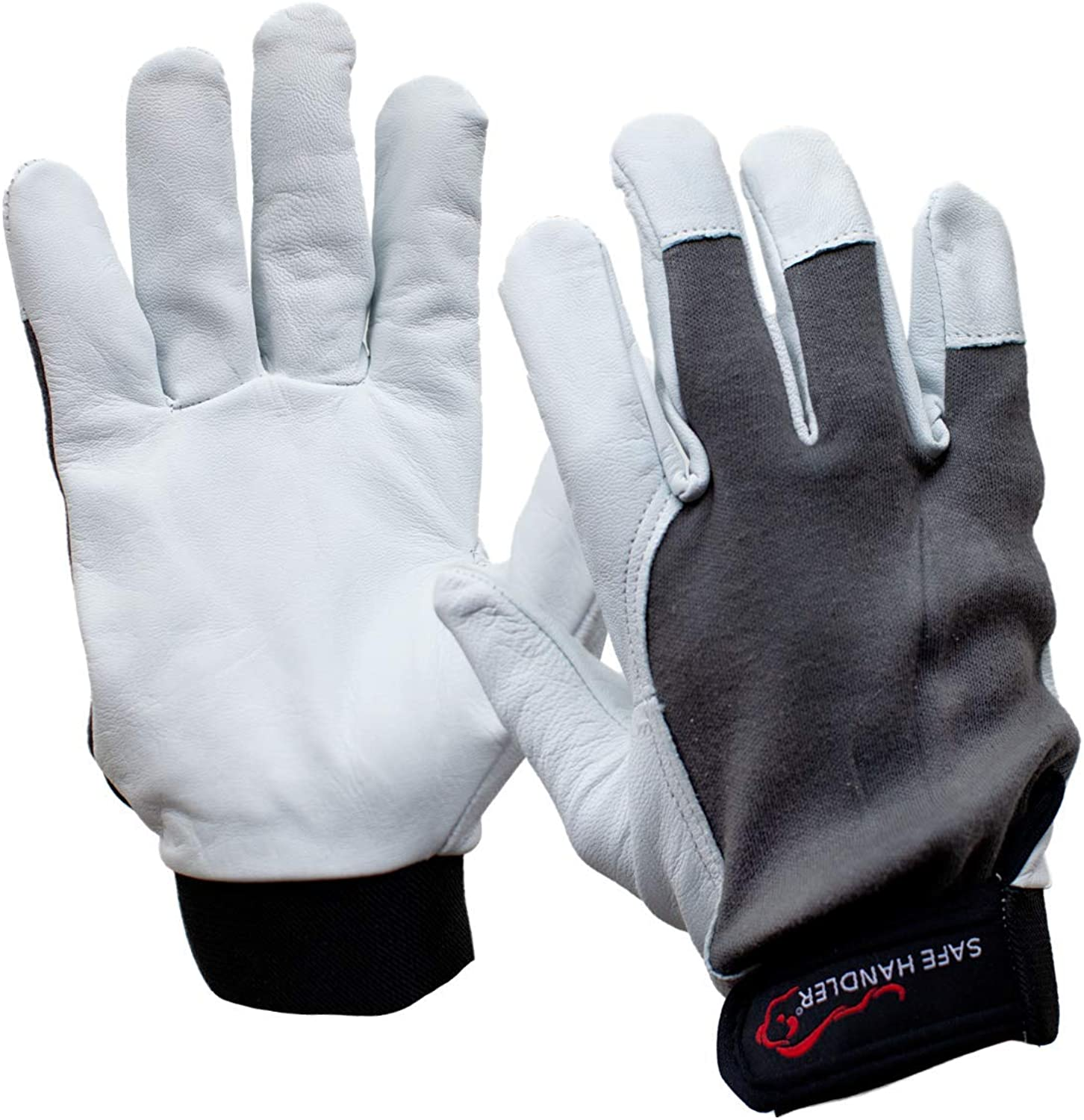 SAFE HANDLER Wing Thumb Gloves with Reinforced Finger Protection | Breathable, Stretch Fabric Backing, Finger Reinforced Assembly Glove, Secure Hook & Loop Closure, Goat Leather, S/M, 1 Pair