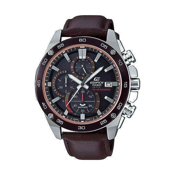 CASIO Reloj Cronógrafo para Hombre de Energía Solar con Correa en Cuero EFS-S500BL-1AVUEF: Amazon.es: Relojes