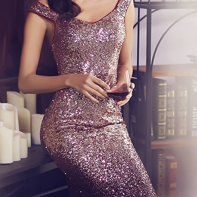 TOYIS Women Sparkling Gradual Champagne Gold Sequin Mermaid Cap Sleeves Evening Dress Prom Dress: Amazon.co.uk: Clothing
