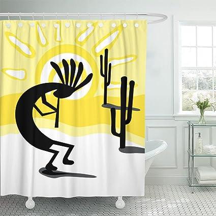 Amazon Emvency Shower Curtain Yellow American The Kokopelli In