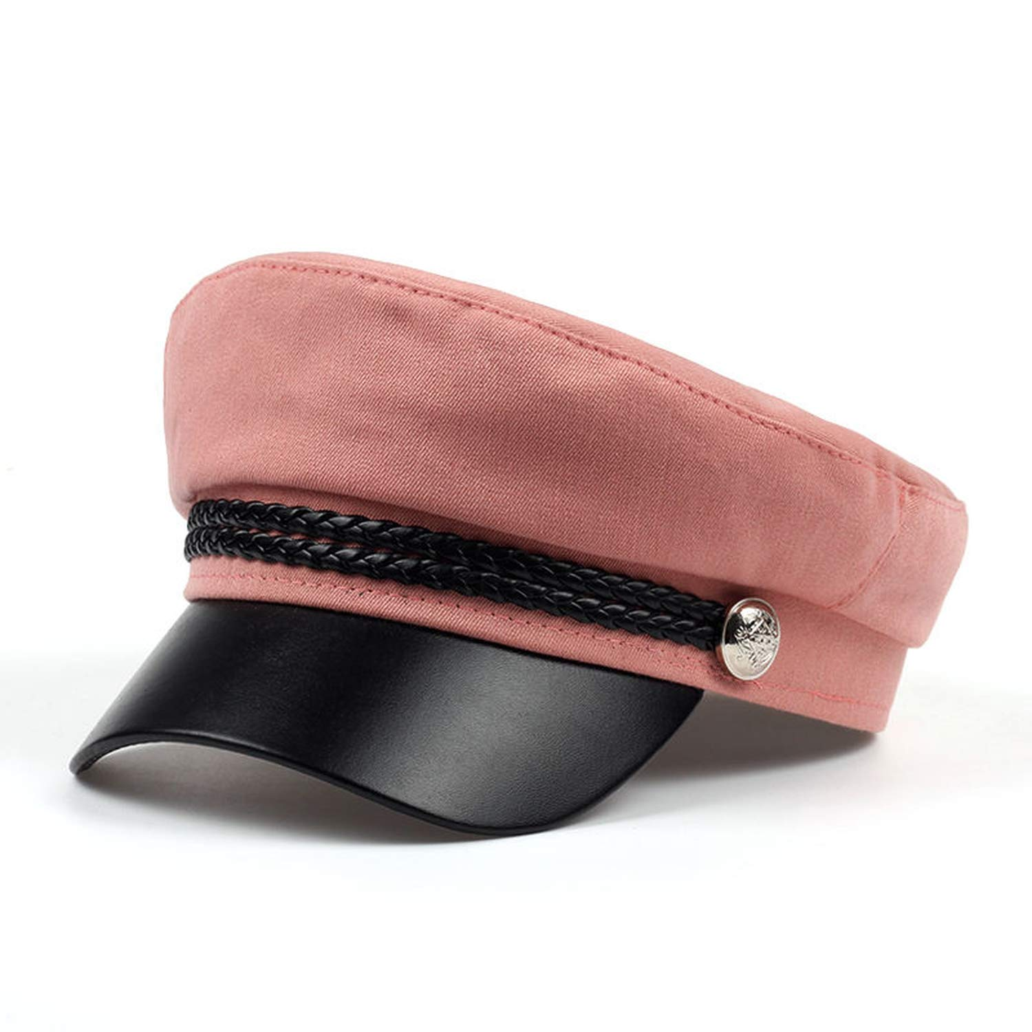 HiiWorld 2019 Female hat Spring 100/% Cotton Navy hat Fashion Black Leather Fixed Crown Winter Warm hat Berets hat Cap