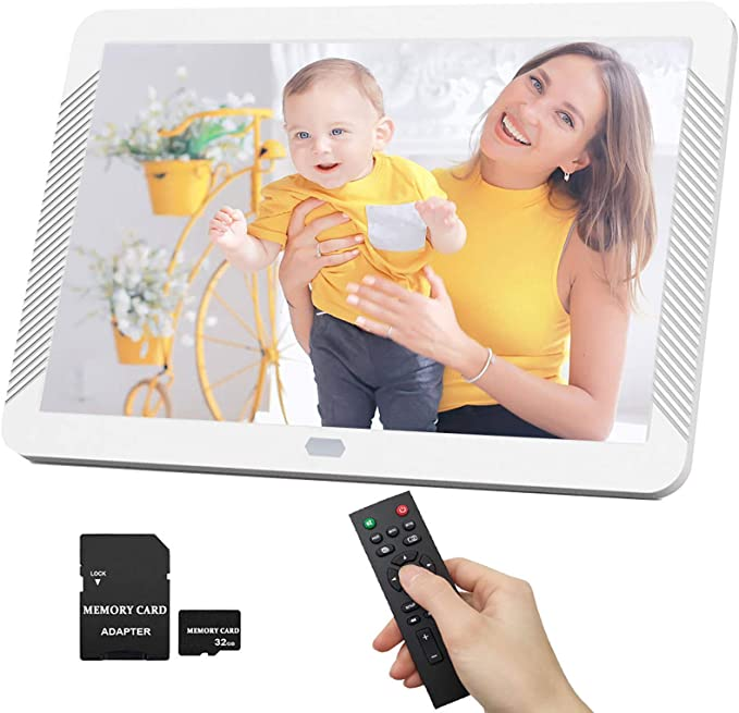 Gohbqany Digital Picture Frames 19 Inch Digital Photo Frame 1366768 Pixels High Resolution LED Screen 1080P HD Video Playback USB and SD Card Slots Remote Control Included 2 Colors Video Frame