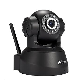 Sricam SP012 Cámara de vigilancia, IP Cámara 1080 x 720p Wifi IR-LED, funcionalidad audio de doble via, visión nocturna, soporta tarjeta MicroSD de ...
