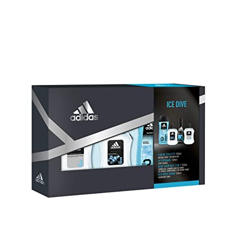 Adidas Ice Dive Set Hombre Cuádruplo Edt 100 + Deo 150 + Gel 250 + As