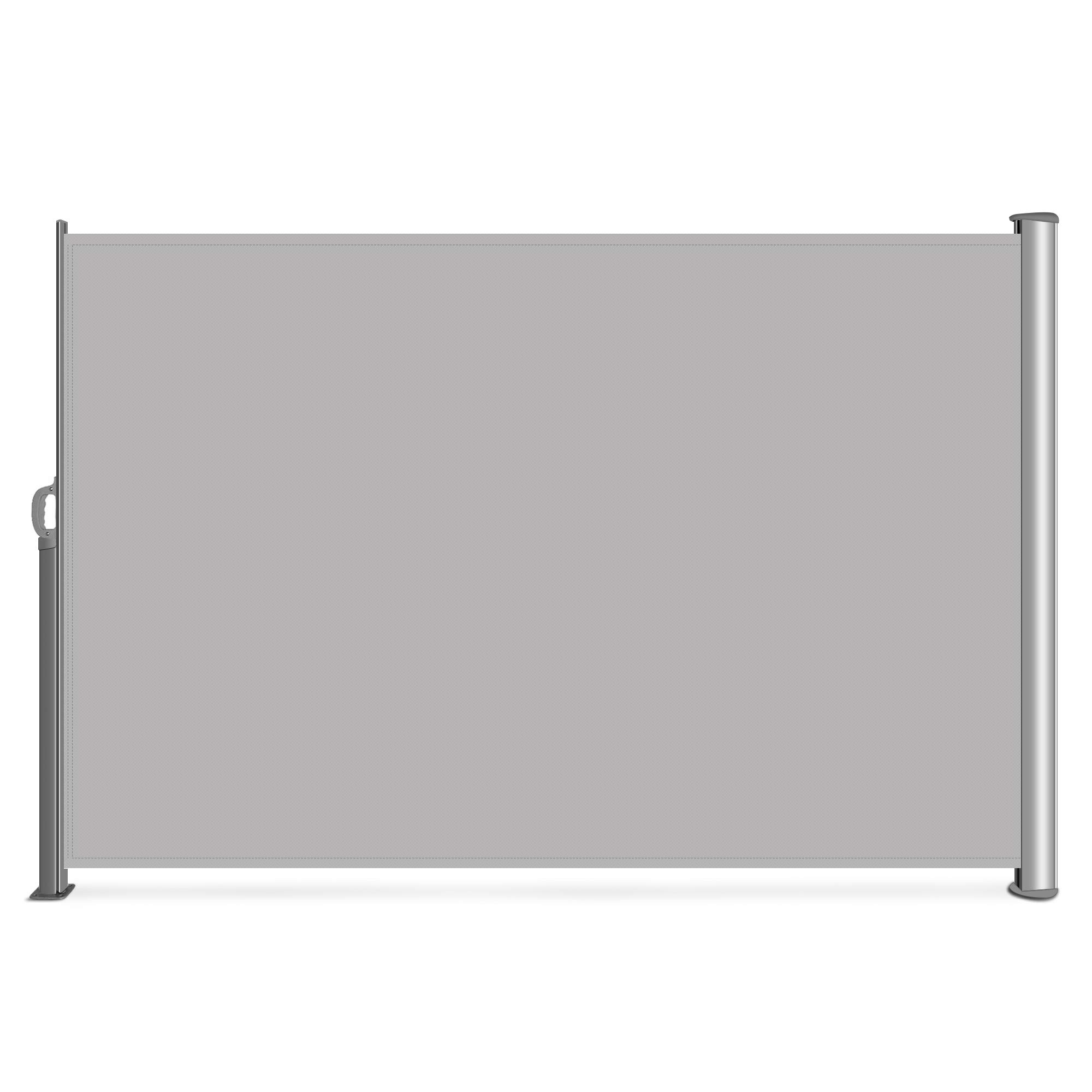 Belleze Folding Retractable Water UV Protection Side Awning Garden Wind Privacy Screen Divider 9.8 x 5.2FT, Grey