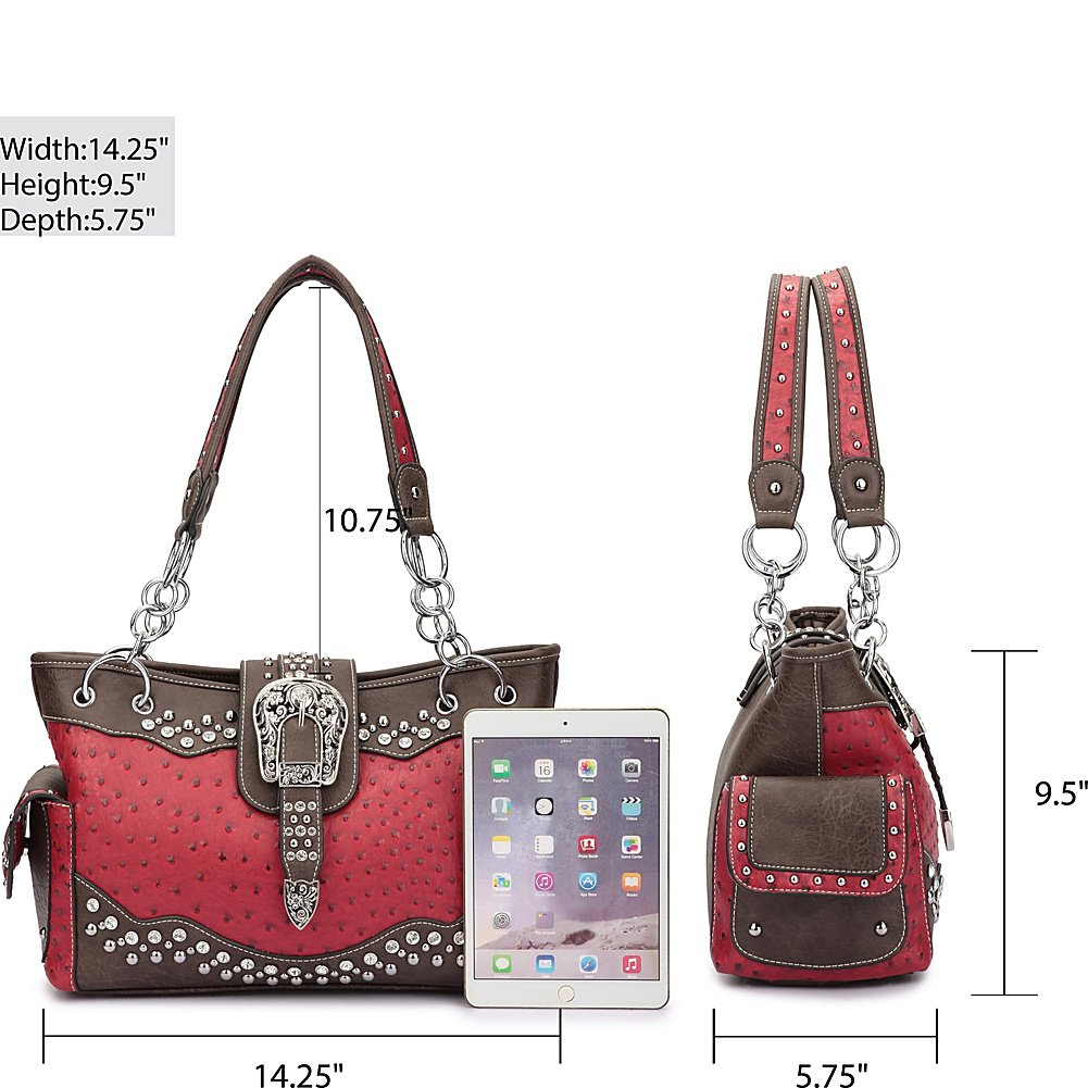 Dasein Western Style Ostrich Rhinestone Buckle Shoulder Bag (Lilac)   Handbags  Amazon.com 80caac826180f