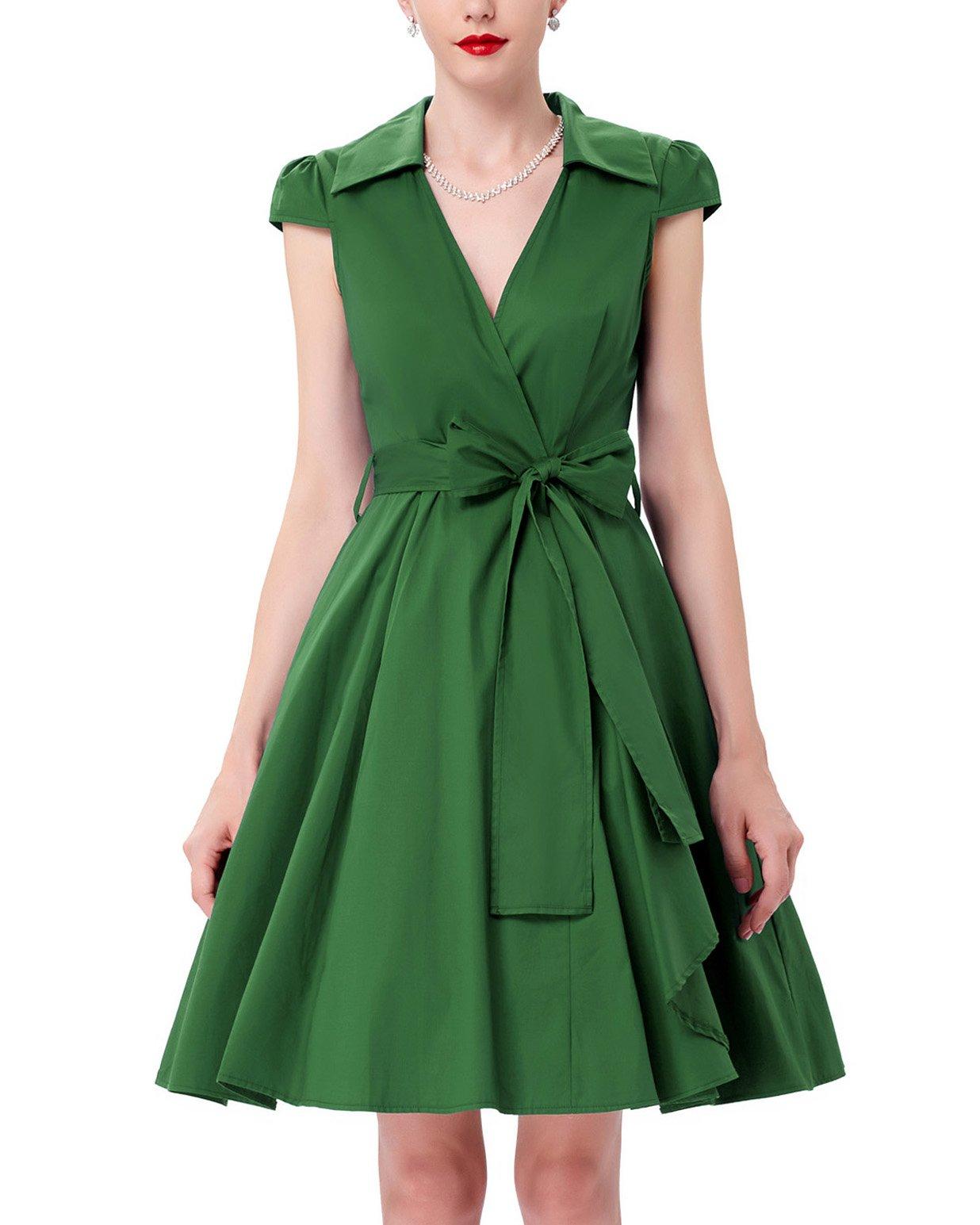 Grace Karin Women's Lapel Collar Wrap Dresses,Large,Green 6087-9