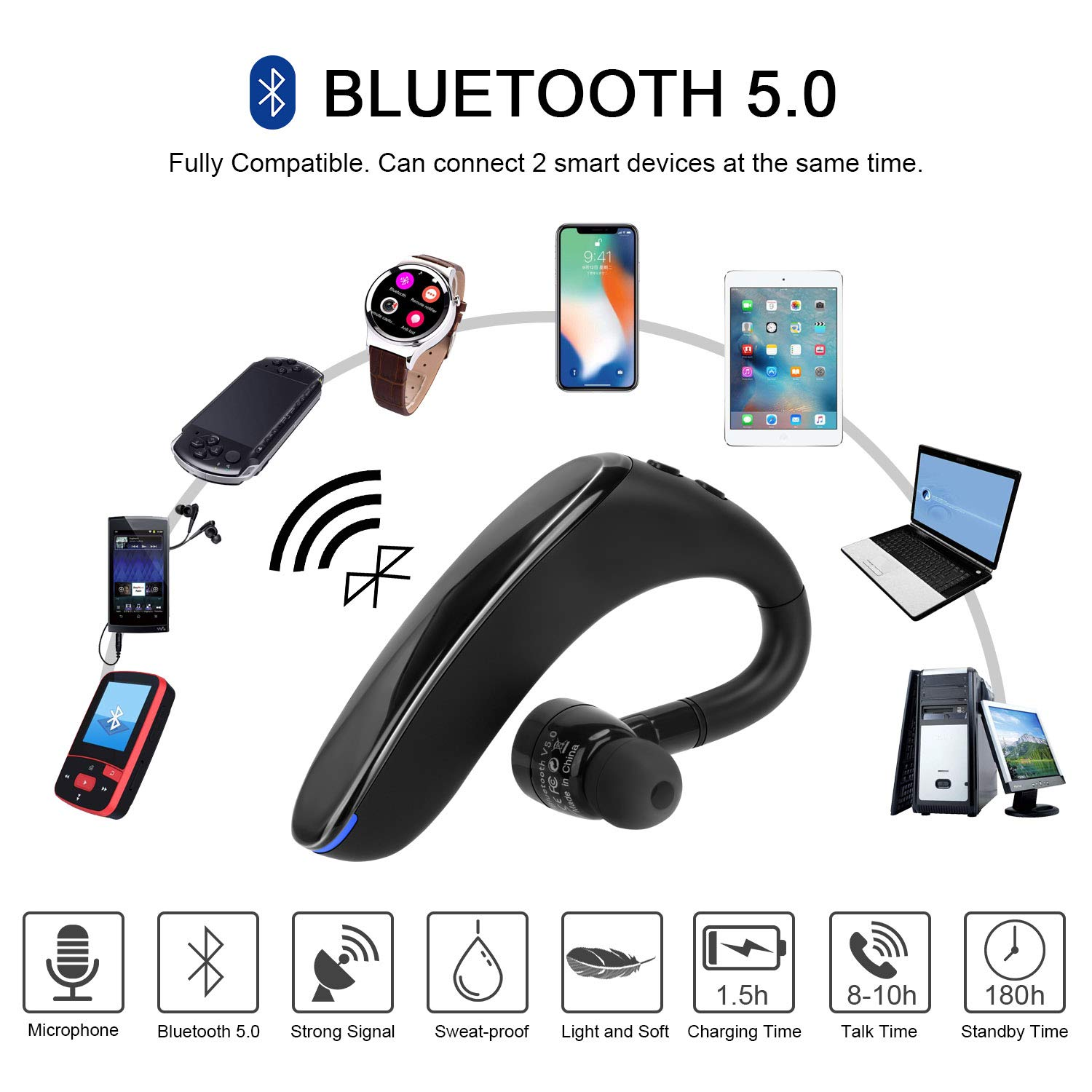 Bluetooth Headset V5.0 Black Wireless Business Earpiece Lightweight Noisy Suppression Bluetooth Earphone with Microphone for Phone//Laptop//Car