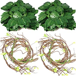 4Pcs Flexible Bend-A-Branch Jungle Vines Terrarium Leaves Lizard Gecko Habitat Tank Decor for Frogs, Snakes and More Reptiles