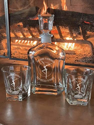 Etched DMB Dave Matthews Band Rock Band Decanter and Double Rocks Glasses Set Whiskey Decanter Set 50th 60th Birthday Bar Gift Flask Fathers Day Christmas