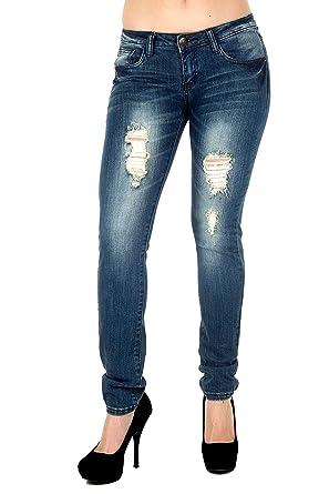 4b314af6f1 Junior WOMENS BLUE Denim JEANS Stretch Destroy Skinny Ripped Distressed  Pants (1)