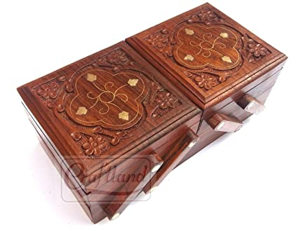 Buy craftland wooden jewellery box brass n carving for women girls