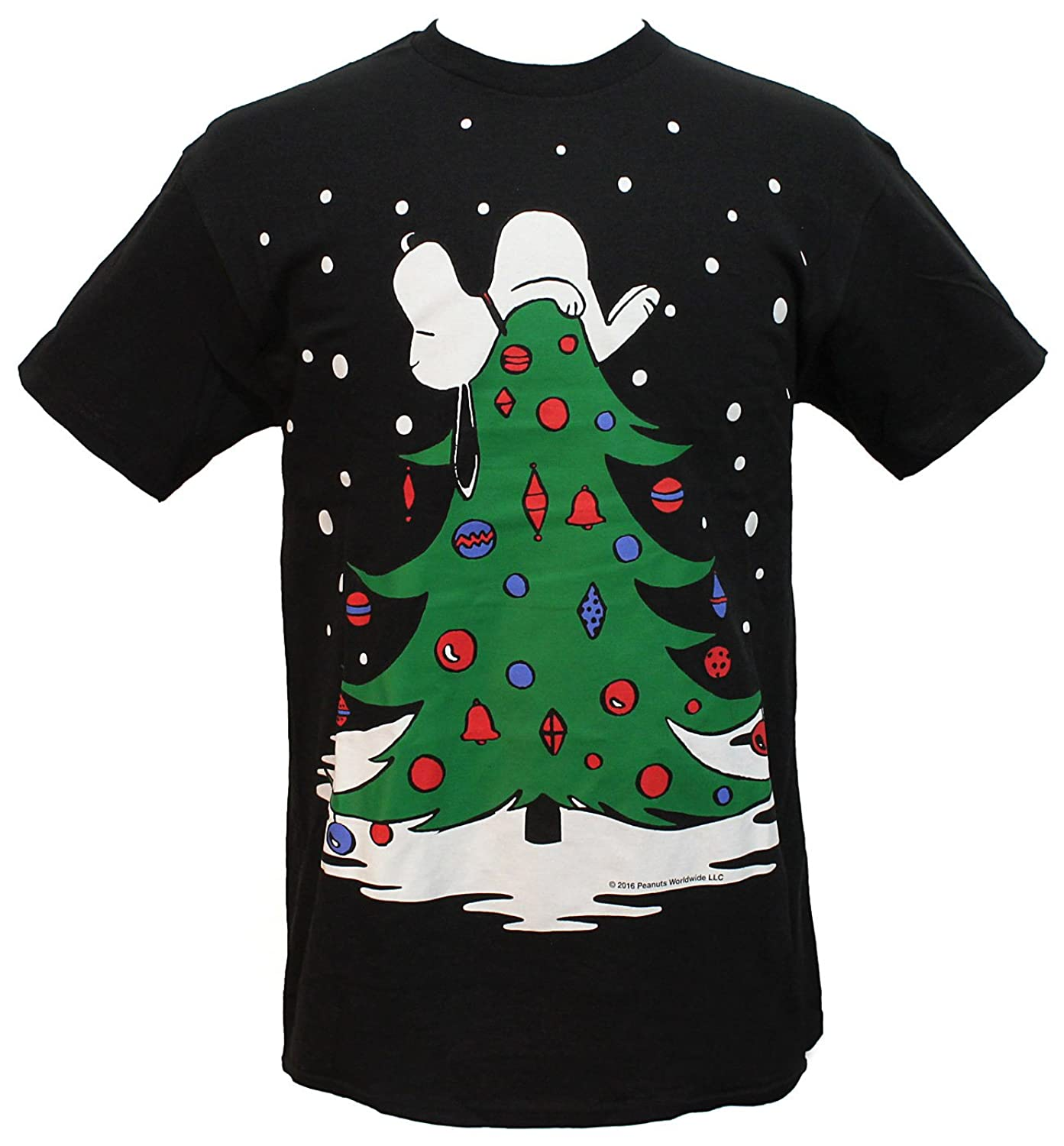 peanuts mens snoopy sleeping on christmas tree holiday t shirt - Snoopy Christmas Shirt