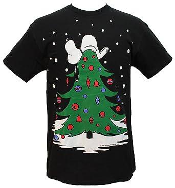 peanuts mens snoopy sleeping on christmas tree holiday t shirt small - Peanuts Christmas Shirt