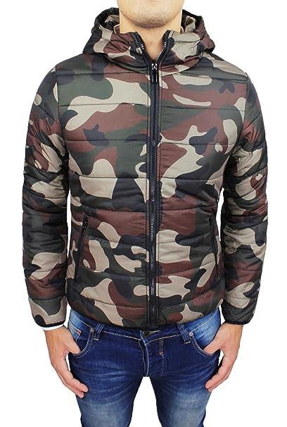 Giubbotto Piumino uomo verde militare Bomber mimetico camouflage slim fit invernale (L)