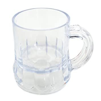fa61e2bc65f Image Unavailable. Image not available for. Color  Mini Clear Plastic Beer  Mug Shot Glasses- ...