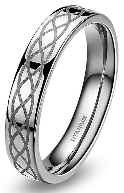 4mm Titanium Comfort Fit Wedding Band Ring Celtic Knot Polished