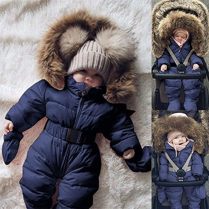 lecduo 0-18m Kleinkind Baby Kapuzen-Strampler Winter Fleece Overall Langarm Niedlich Cartoon B/är Form Braun