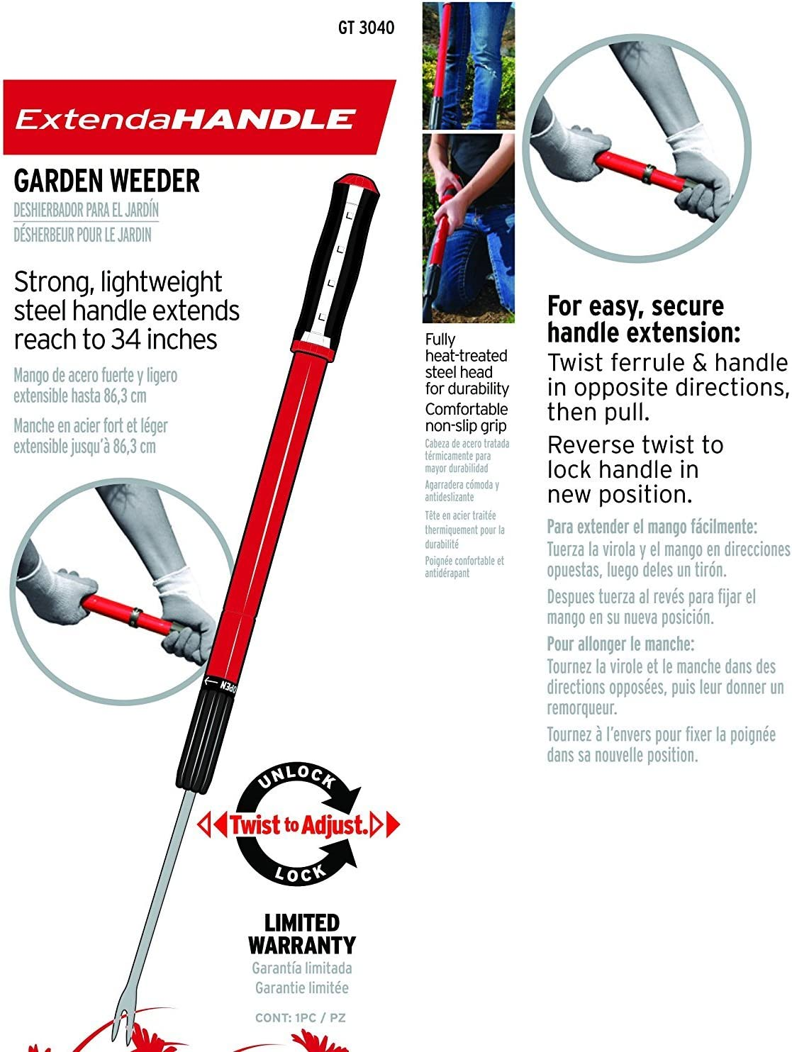 Corona GT 3040 Clipper GT3040 Extendable Handle Weeder : Hand Weeders : Garden & Outdoor