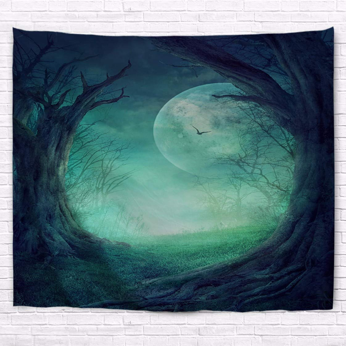 A.Monamour Halloween Holiday Themed Gothic Autumn Valley Woods Spooky Tree Round Opening Full Moon Scene Art Print Polyester Fabric Wall Tapestry Wall Hangings Curtains Picnic Blankets by A.Monamour (Image #1)