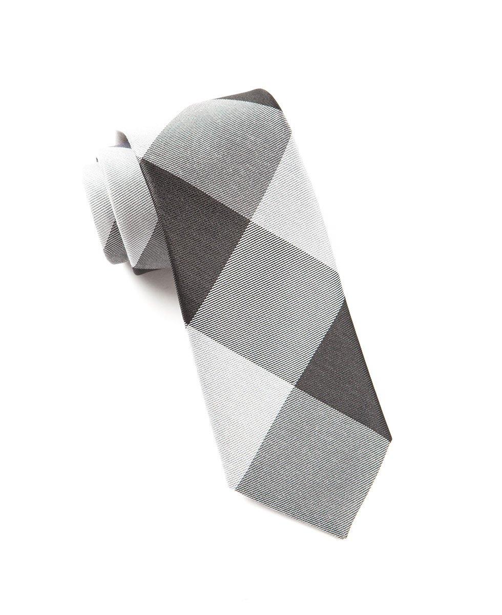 The Tie Bar Bison Plaid Cotton Silk Blend Black Tie