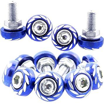 Shells 20PCS Blue Motorbike License Plate Frame Bolt Screw Auto Car Decorate Hex Head Bolts Screws Fasteners Shells Group