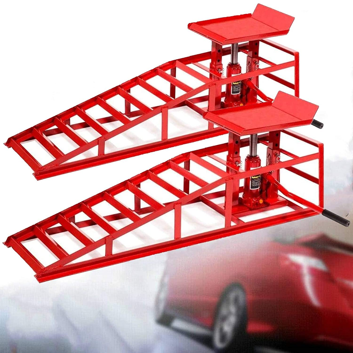 2PCS Auto Car Truck Service Ramps Lifts Heavy 10,000lbs Capacity HD Hydraulic Lift for Vehicle Auto Truck Garage Repair Steel Frame