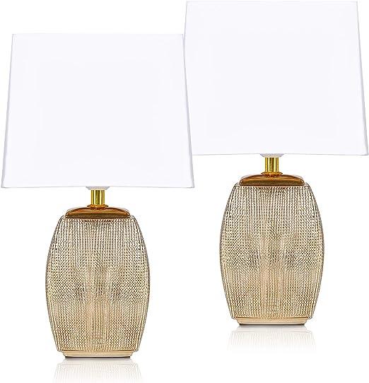 BRUBAKER Set de 2 Lámparas de Mesa o de Noche - 38 cm - Doradas ...