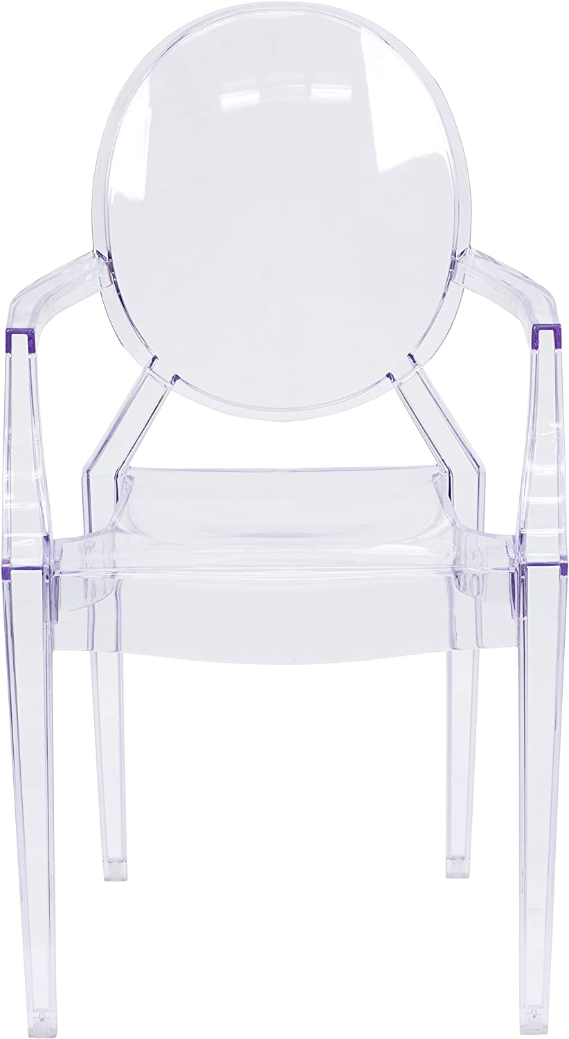 Flash Furniture Ghost Chair with Arms in Transparent Crystal