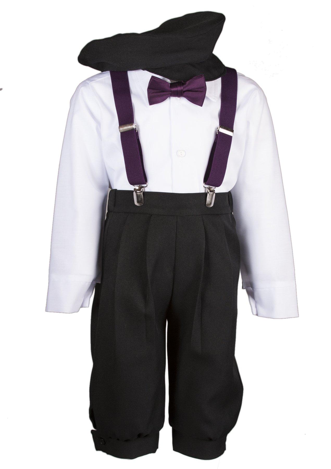 Tuxgear Boys Black Knickers Set Pageboy Cap Berry Suspenders & Bow Tie (7 Boys)