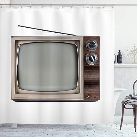 Aliyz 1950 Cortina de Ducha con Antena Pantalla de televisión Antigua TV Antigua Historia película Pantalla Tela baño Duradero fácil de Limpiar Tela Impermeable para baño Ducha Hotel: Amazon.es: Hogar
