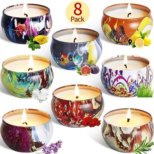 McNory 8 Pack Regalo de Velas Perfumadas,Velas Aromaticas,Cera de Soja Natural,Aromaterapia Decoración para Relajación Fiesta Boda Baño Yoga Cumpleaños Navidad Día de San Valentín Regalos: Amazon.es: Hogar