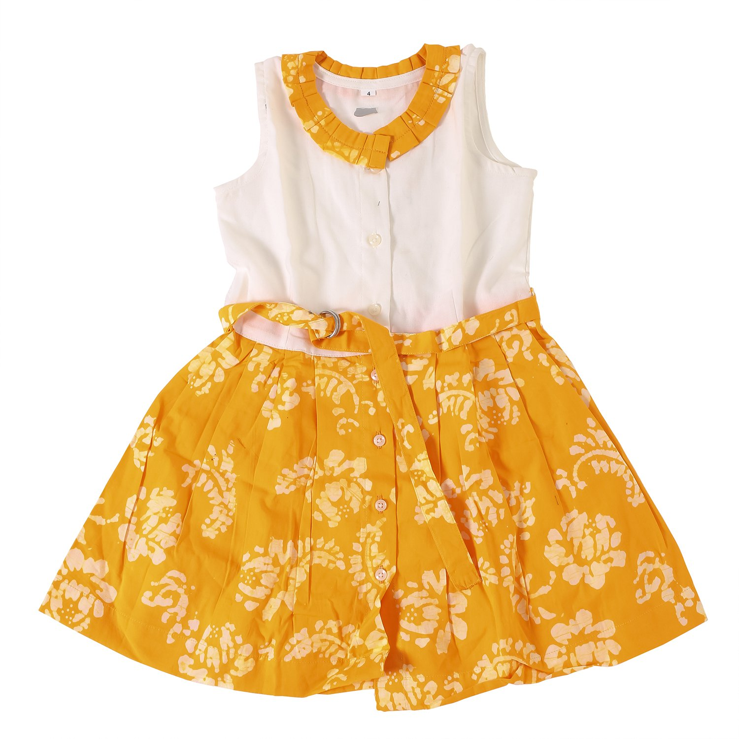 d0a1013e79c83 Twist Girls Kids Solid Linen Cotton Partywear Casual Frocks Dresses - Frock  with Frills, Lace, Button and Belt in Yellow Color With Contrast & Free ...