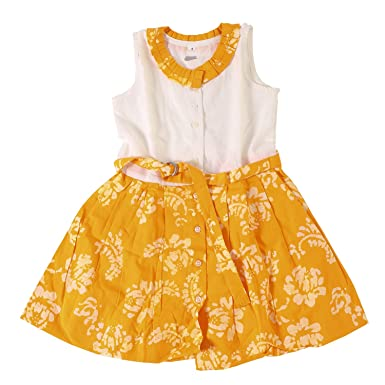 d05ce4a6cd843 Twist Girls Kids Solid Linen Cotton Partywear Casual Frocks Dresses - Frock  with Frills, Lace, Button and Belt in Yellow Color With Contrast & Free ...