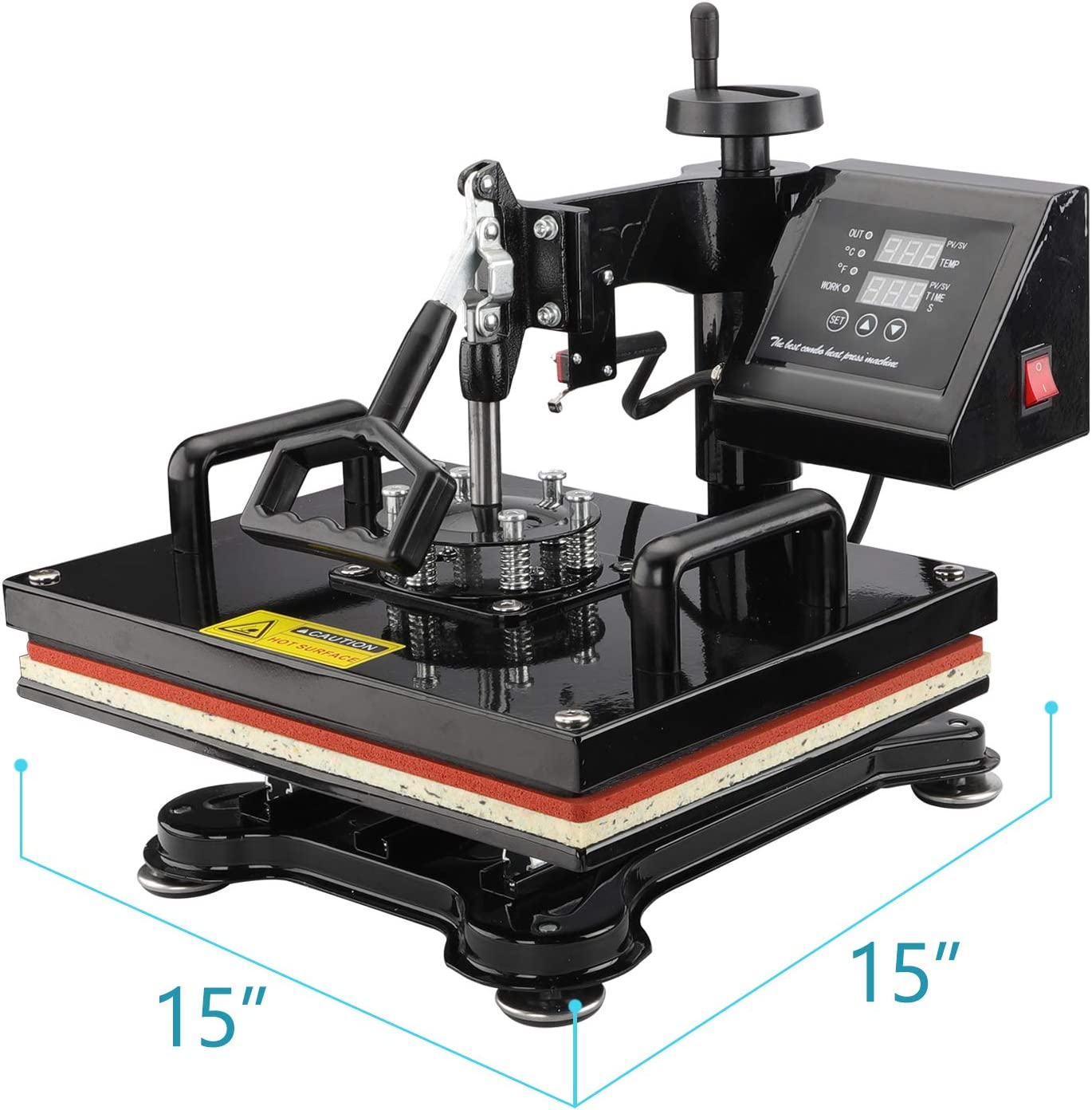 Plate Press Furgle Heat Press Machine 12x15 inch 5 in 1 T-Shirt Digital Printing Transfer Sublimation Machine 1050W with Clothes Hat//Cap Mug