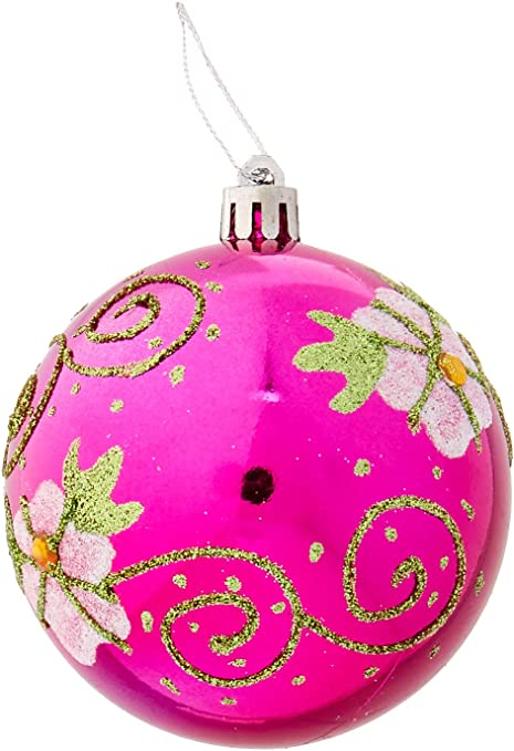 Perfect Holiday Handpainted 2 Piece Shatterproof Christmas Ornaments 3 14 Inch Shiny Rose Red Ball With Flower And Acrylic Diamond Home Kitchen
