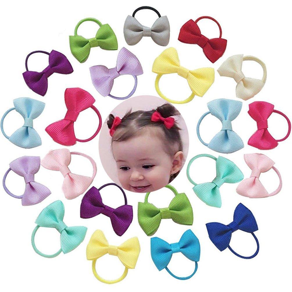 Baby Hair Ties Bows Kids Hair Tie Head Bands Ropes Hair Elastics Ponytail Toddler Fabric girls Hair Holder 20PCS Amelery SS2DSADAFGE84718