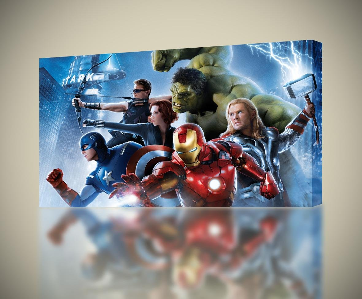 incredible Avengers Wall Decor Part - 17: Amazon.com: The Avengers CANVAS PRINT Wall Decor Giclee Art Poster Iron Man  Hulk Thor CA500, Regular: Posters u0026 Prints