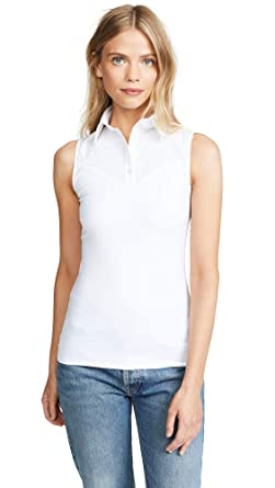 d9a309e8deab5d SkinnyShirt Classic Sleeveless White Slim Shirt No-Bunch Pull-On Shirt  w/Nylon, Cotton, Spandex at Amazon Women's Clothing store:
