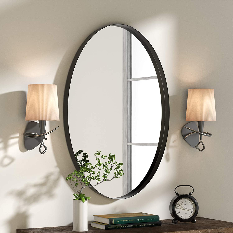 NXHOME Oval Metal-Framed Wall Mirror - Bathroom Decorative Wall Mounted Mirror 18×28in Black Clean Vanity Mirror for Living Room Entryway Bedroom