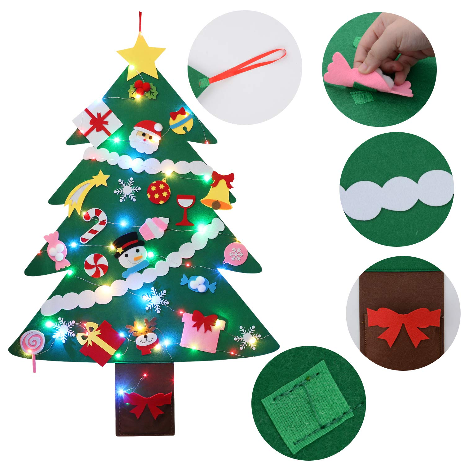 DIY Felt Christmas Tree, Fascigirl Fairy DIY Christmas Door Wall Hanging Decorations Christmas Tree with 16.4ft Colorful LED String Light , 28 Ornaments and 1 Red Gift Bag Xmas Gifts for Kids
